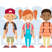 Grinning kids wearing backpacks | Preteens