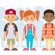 Grinning kids wearing backpacks   Preteens