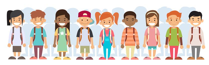 Grinning kids wearing backpacks | Preteens